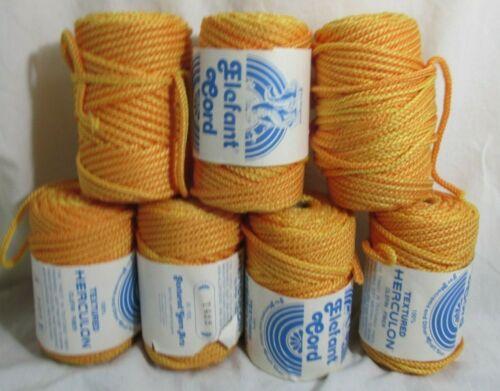 Vintage 6+ Balls Macrame Cord Elefant Cord Yellow/Goldenrod 50 yds ea