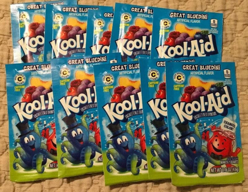 10 Pks Kool Aid Mix Great Bluedini Limited Edition Changes Color Expired Collect