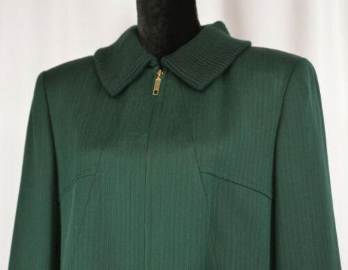 Carlisle Sz 12 Wool Blazer Dark Green Full Zip Jacket Coat Lined Pockets Silk Bd