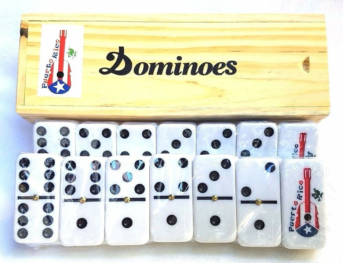 Professional Puerto Rico Rooster-Flag Double Six Dominos Dominoes Boricua Rican