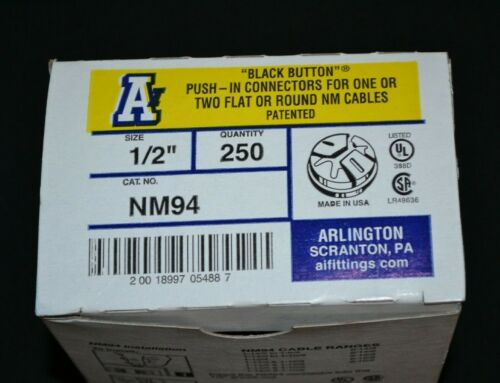 "ARLINGTON NM94 1/2"" Push-In Romex Connector - Qty 250"