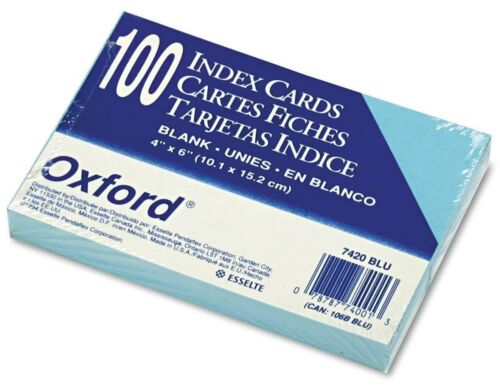 """400 - 4 packs of 100 OXFORD Blue 4"""" x 6"""" Index Cards, Blank, 7420-BLU by TOPS"""