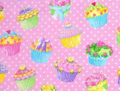 CUPCAKES FLANNEL FABRIC  SILVER METALLIC  SWEET TREATS  POLKA DOTS  BY THE YARD - Polka Dots Cupcakes
