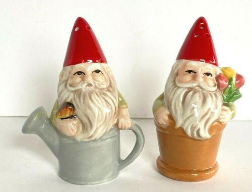 Ganz Gnome in Watering Can & Flower Pot Salt & Pepper Shaker Set