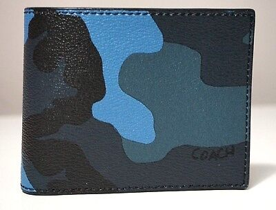 Coach Men's 3 In 1 Camo Dusk Blue Multi Compact ID Wallet (Compact Id Wallet In Signature Coated Canvas)