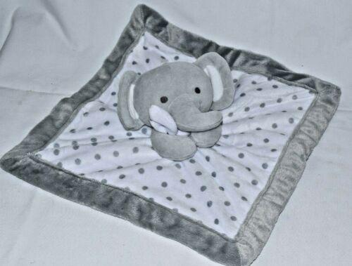 Falls Creek Infant Baby Elephant Lovey Security Blanket Rattle White Gray Dot
