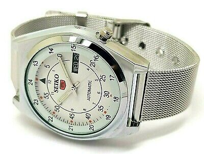 seiko 5 automatic men's steel railway time day/date vintage japan watch run r