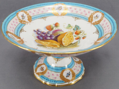 Victorian Old Paris Hand Painted Sevres Style Blue Birds Fruit Compote Comport