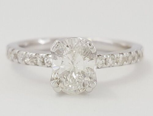 0.97 Ct 14k White Gold Oval & Round Cut Diamond Engagement Ring E/si2 Rtl $6,380