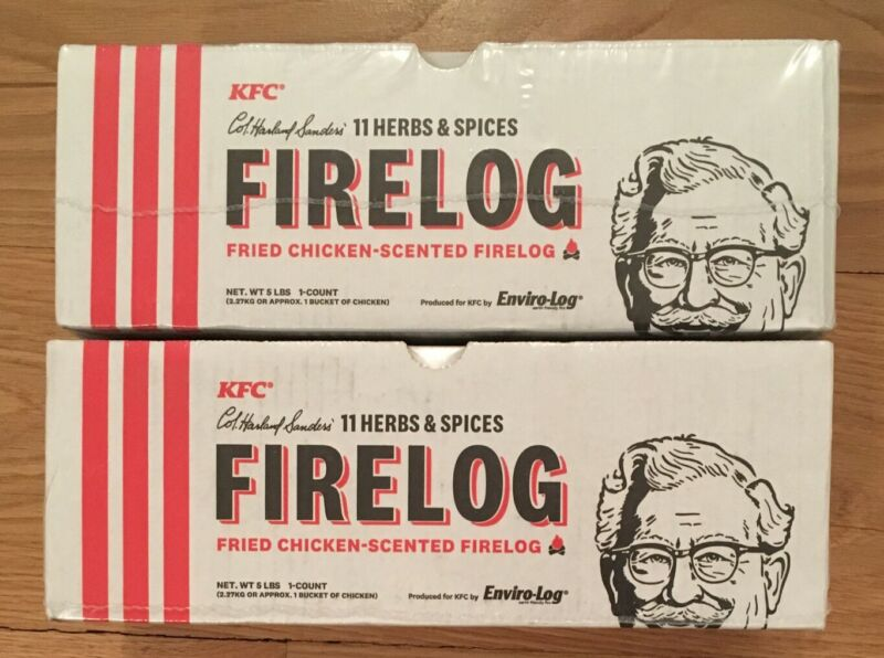 NEW 2 Pack KCF Fire Log 11 Herbs Spices Envirolog Kentucky Fried Chicken Scented