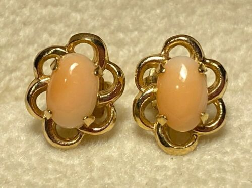 Vintage Estate 14k Yellow Gold Angel Skin Coral Delicate Stud Flower Earrings