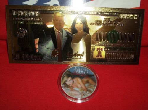 Melania Trump Our First Lady Silver Plated Novelty Art-Coin 1 Pres Trump GF Bill