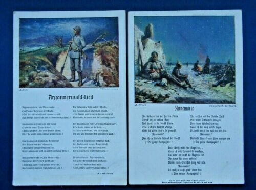 WWI. Argon Forest Song. Annemarie by Alois Broch 2 Antique Postcards.
