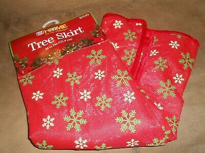 Rite Aid Home For The Holidays 48 Inch Tree Skirt Red with Snowflakes New