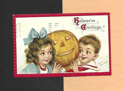 Adorable CHILDREN Hold JOL On A/S BRUNDAGE Vintage 1913 HALLOWEEN Postcard