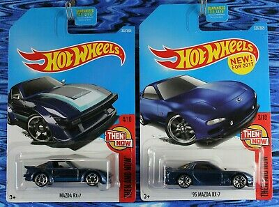 2017 Hot Wheels Mazda RX-7 and 95 Mazda RX-7 Blue Then & Now 2 Car Lot Box Ship