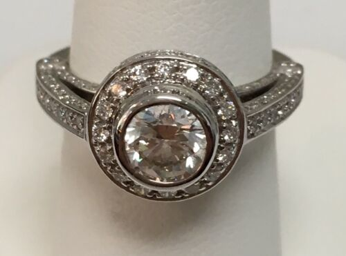 18k W Gold Diamond Engagement Ring Center .90ct G/SI2 GIA 126Dia .76ct GH/VS1-2