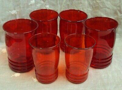 Vtg Lot/6 RUBY RED Drinking Glasses ~ (4) 4