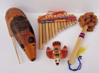 Set of 4 Musical Instruments from Peru