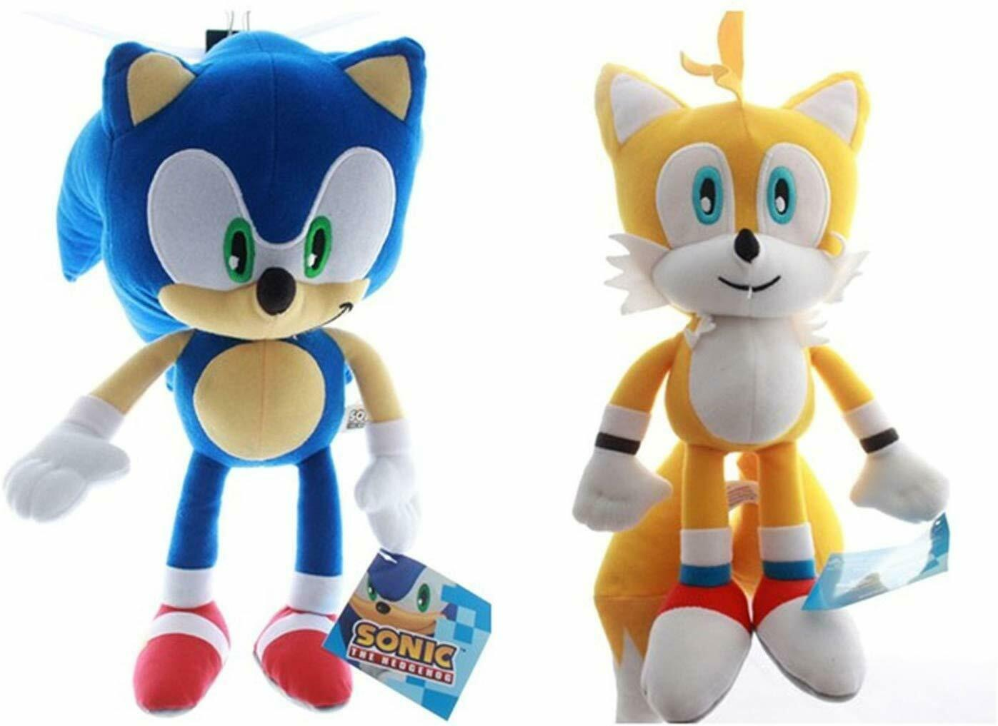 New Set Of 2 Sonic The Hedgehog Stuffed Plush Character Toys