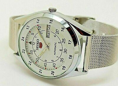 seiko 5 automatic men railway time white dial day/date vintage japan watch run