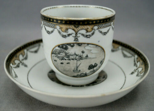 Chinese Export Hand Painted Grisaille Maritime Harbor Scene Coffee Cup & Saucer