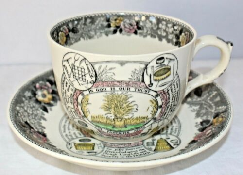 Large Adams Staffordshire Transferware Cup & Saucer The Farmers Arms #1
