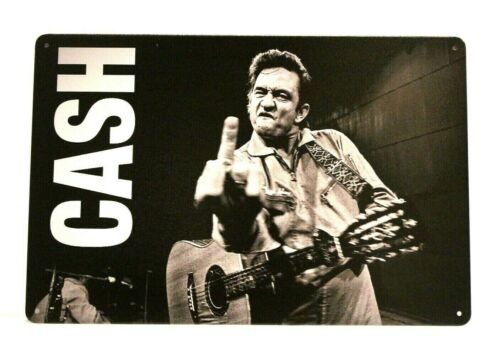 Johnny Cash in Concert Tin Poster Sign Man Cave Vintage Look Flipping Off Camera