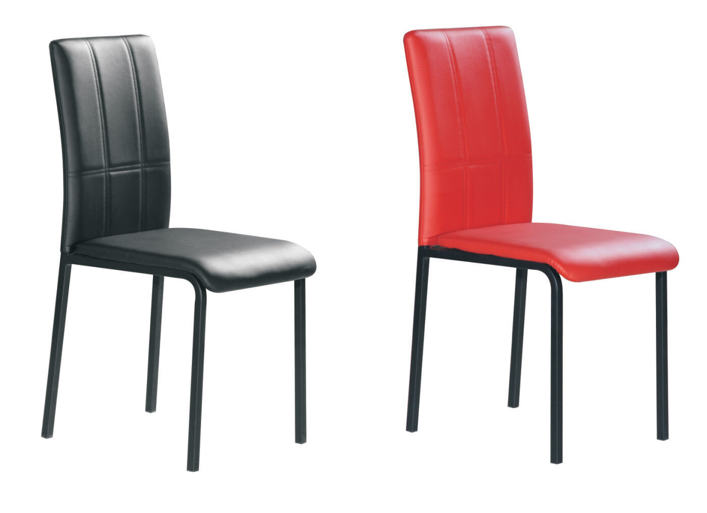 Dining chairs faux leather foam padded red and black with for Faux leather dining chairs