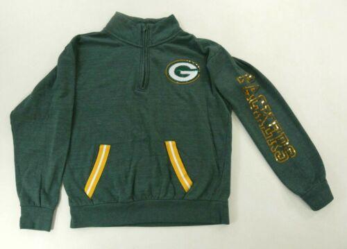NFL Team Apparel Packers Womens Green Bay 1/4 Zip Sweatshirt Sequined G Medium