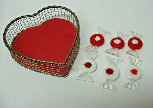 LOT 6 glass candies HEART + metal wired basket