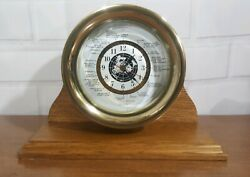 Vintage real Brass Mantel Quartz World Clock w/ Wood Base GMT Nautical ocean