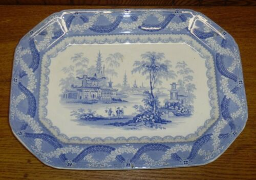 "Antique William Ridgway W.R. Blue Transferware Platter - Amoy - 15 3/8"""