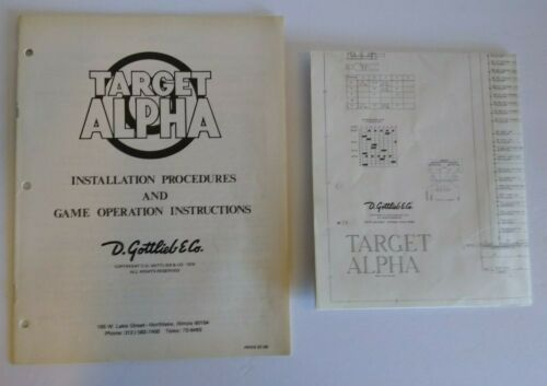 Target Alpha 1976 Gottlieb Pinball Machine Original Manual And Schematic Diagram