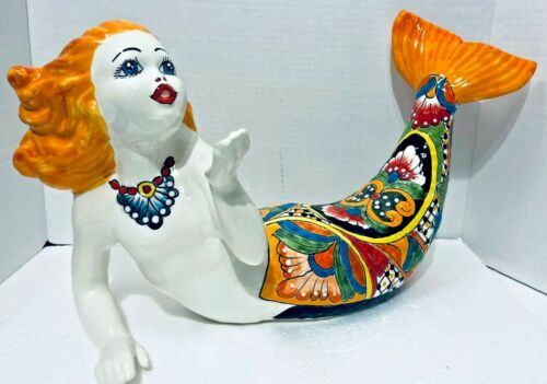 "Mermaid Fish Ceramic Garden Nautical Sea Figure Mexican Talavera Pool Art XL 21"""