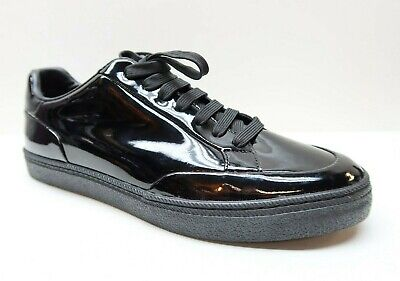ZARA Man 42 9 Black Patent Leather Sneakers Trainers NEW