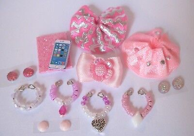 Littlest Pet Shop LPS 12 PC Clothes PINK Accessories Custom Skirts Bow Necklaces