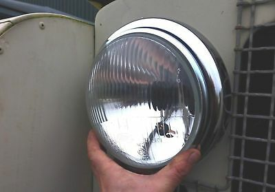 Land Rover Series 1 2 2a Complete Head Light/Lamp Steel Bucket Unit, Rim & Loom