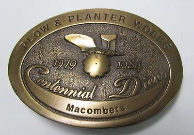 John Deere Plow & Planter Works Macomber Centennial 1984 Belt Buckle Limited Ed