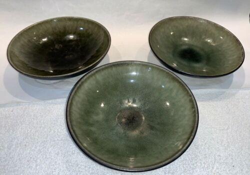 "3 Jars Tourron Natural Samoa Vert Soup Salad Bowls Green Black Stoneware 7-1/2"""