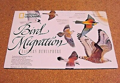 National Geographic April 2004 Map Bird Migration Eastern+Western Hemisphere