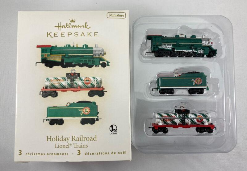 2008 Miniature Lionel Trains Holiday Railroad Set (3) Hallmark Keepsake Ornament