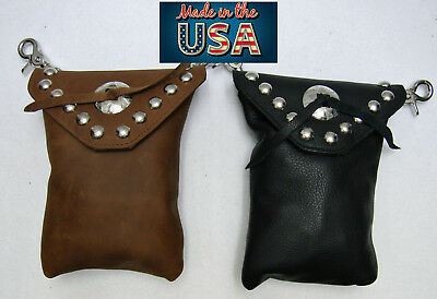 Hip Clip Purse Bikers Body Belt Loop Bag Genuine Leather Pouch Studded w/ Concho