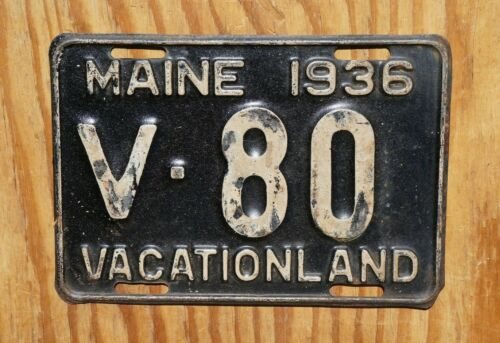 1936 Maine License Plate Low Digit # V - 80