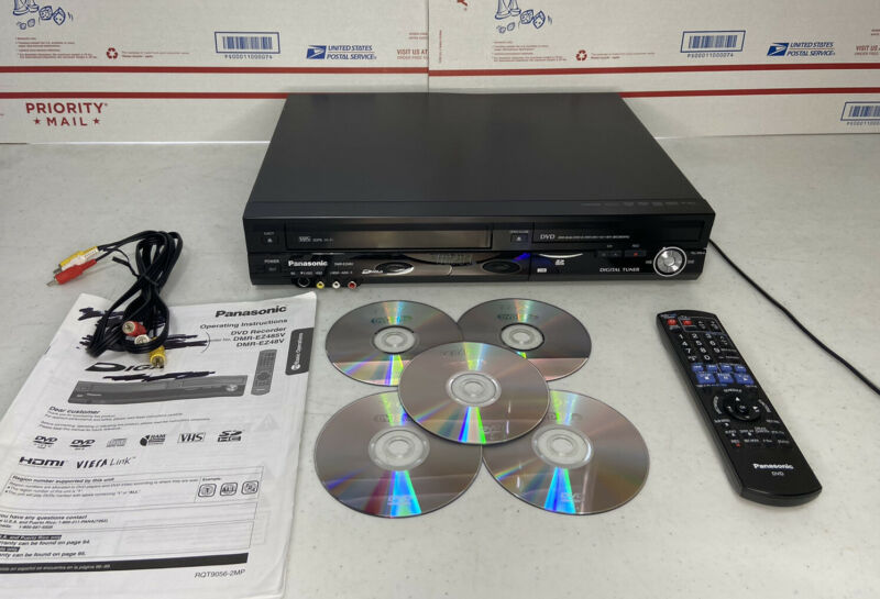 Panasonic DMR-EZ48V DVD Recorder VHS VCR Player w/ Remote, Extras - Works Great