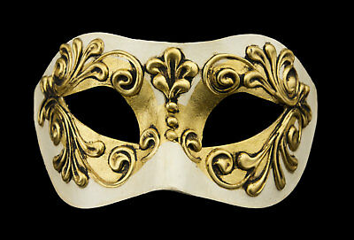 Mask from Venice Colombine in Paper Mache White and Golden Mixed 22333 V78