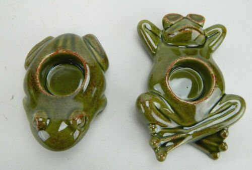 New in Box PartyLite Ceramic Floating Frog Votive Tealight Candle Holders