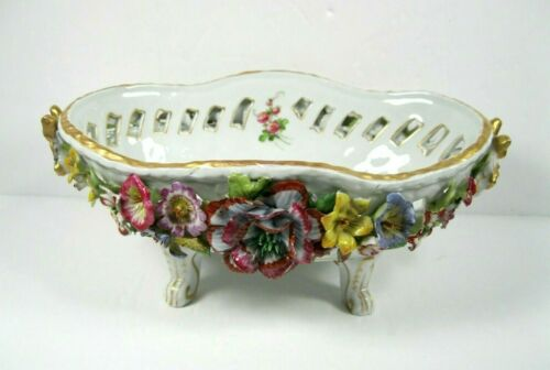 Von Schierholz  Flower Encrusted Footed Oval Basket bowl Germany porcelain