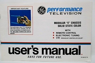 - Vintage General Electric GE TV Users Owners Manual Guide 1979 Color Television