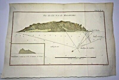 MASAFUERO CHILE 1774 JAMES COOK  ANTIQUE ENGRAVED MAP 18TH CENTURY